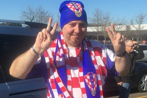 Able client Peter wearing Croatia soccer team colours